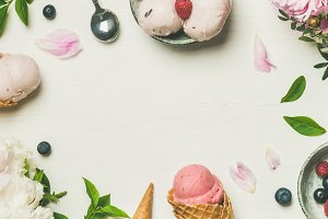 Flat-lay of ice cream scoops and peonies, wide composition