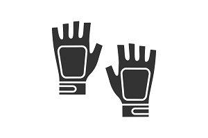 Fingerless gym gloves glyph icon