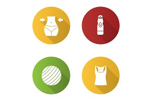 Fitness flat design long shadow glyph icons set