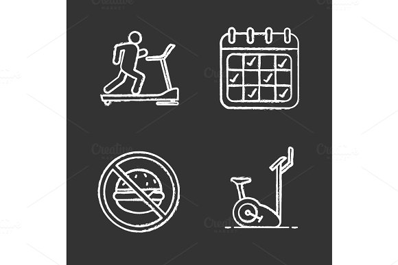 Fitness Chalk Icons Set