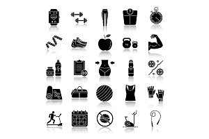 Fitness drop shadow black glyph icons set