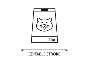 Cat's food linear icon