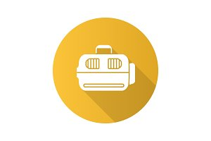 Pet carrier flat design long shadow glyph icon