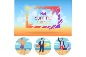 Hot Summer Days Set Poster Vector Illustration