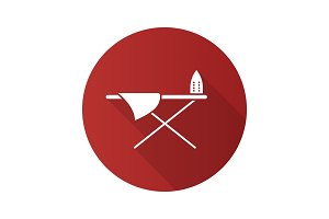 Ironing board flat design long shadow glyph icon