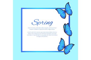 Spring Greeting Card Blue Butterflies, Photo Frame