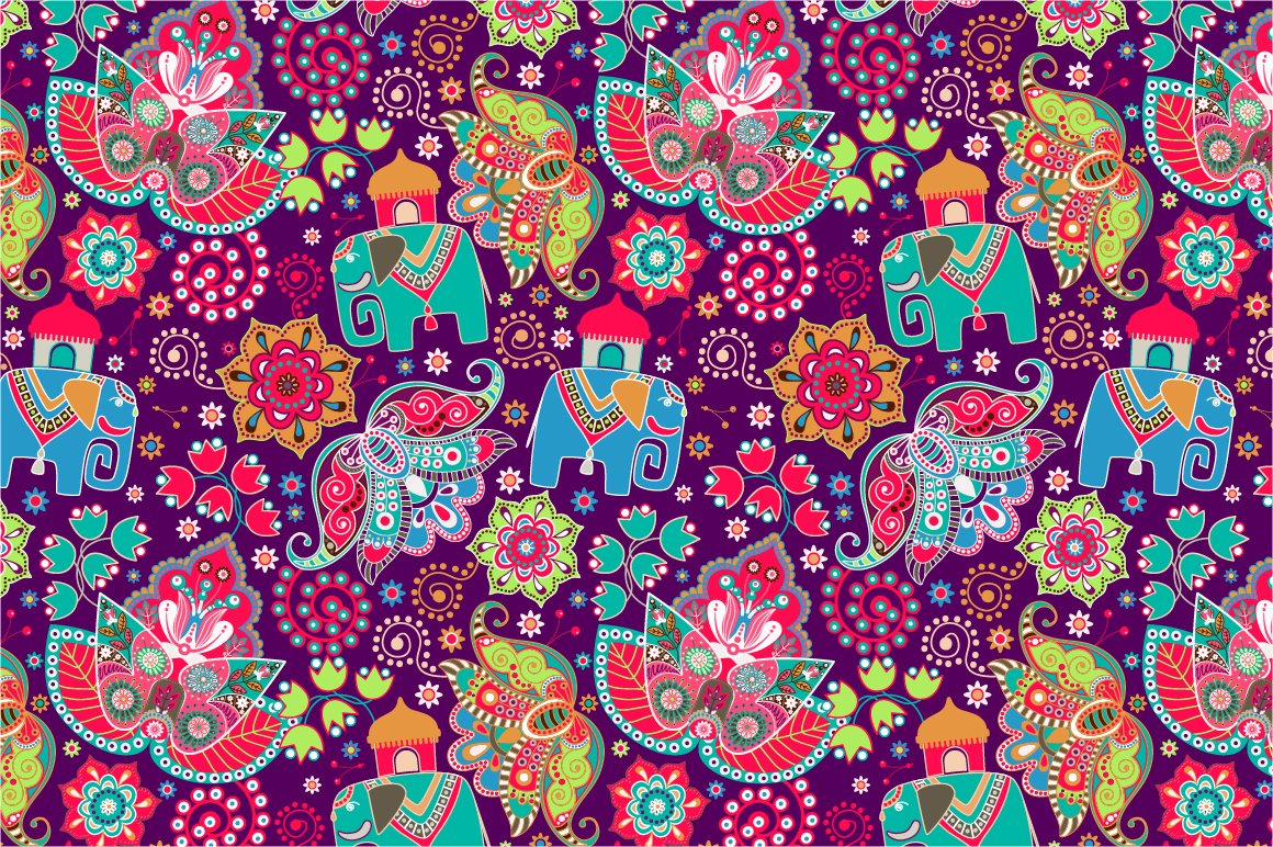 2 Floral Patterns With Elephants Patterns Creative Market