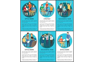Office Work Successful Team Vector Illustration