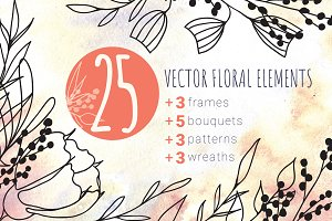 Set of Vector Floral Elements Spring
