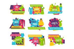 Women Clothing Store Set of Advertising Labels