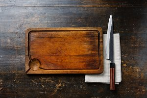 cutting board background and knife