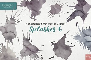 Watercolor Clipart Splashes 6