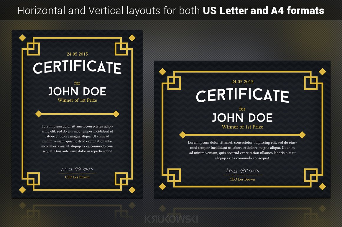 Dark Certificate Template ~ Stationery Templates ...
