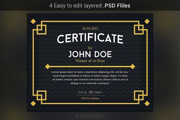 Dark Certificate Template Stationery Templates Creative Market