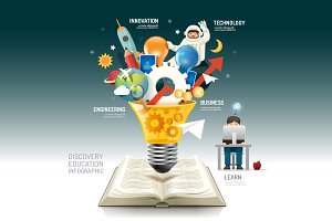 Open book infographic innovation