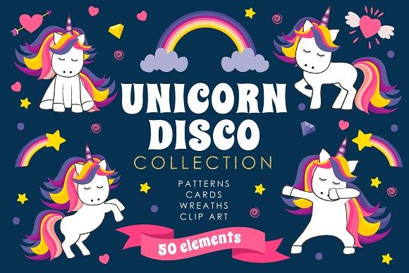 Unicorn Disco Collection Clip Art