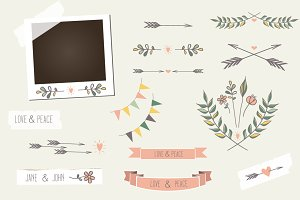 Vintage photo frame elements