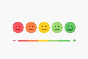 Set of Emoji Colored Flat Emoticons.