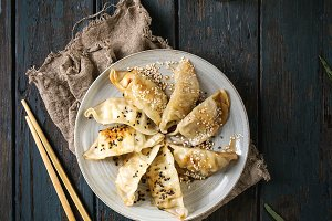 Gyozas potstickers asian dumplings
