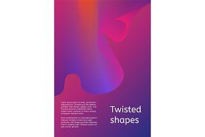 Cover or poster design template. Modern cover with twisting shape element. Trendy minimal design.