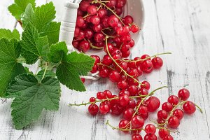 Redcurrants scattered from bucket