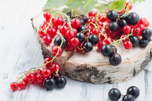 Redcurrants and blackcurrants