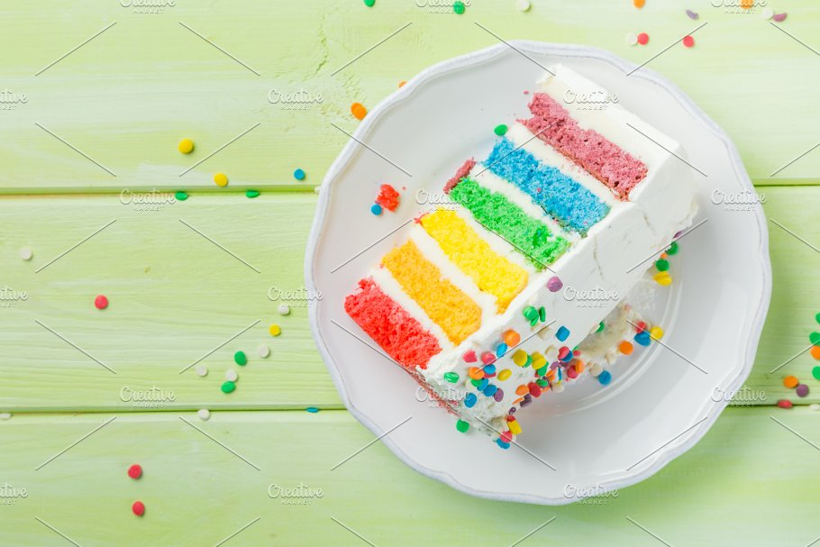 Birthday Background Striped Rainbow Cake With White Frosting