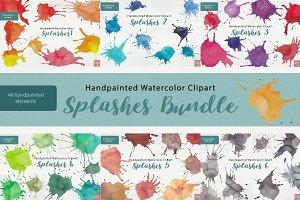 Watercolor Clipart Splashes Bundle