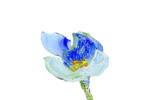 Hand painted modern style blue flower