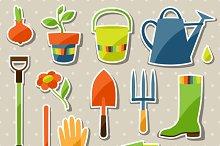 Garden sticker design elements.