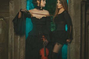 Two women in Gothic style.