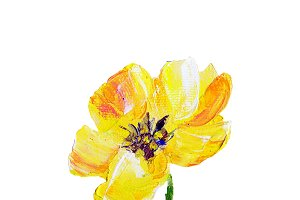 Hand painted modern style yellow flower