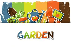 Backgrounds with garden stickers.