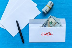 Bribe in an envelope. Cash