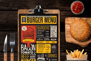 FREE! Trifold + Burger Food Menu