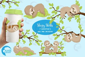 Sleepy sloth clipart AMB-2200