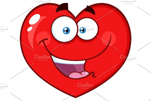 Happy Red Heart Character
