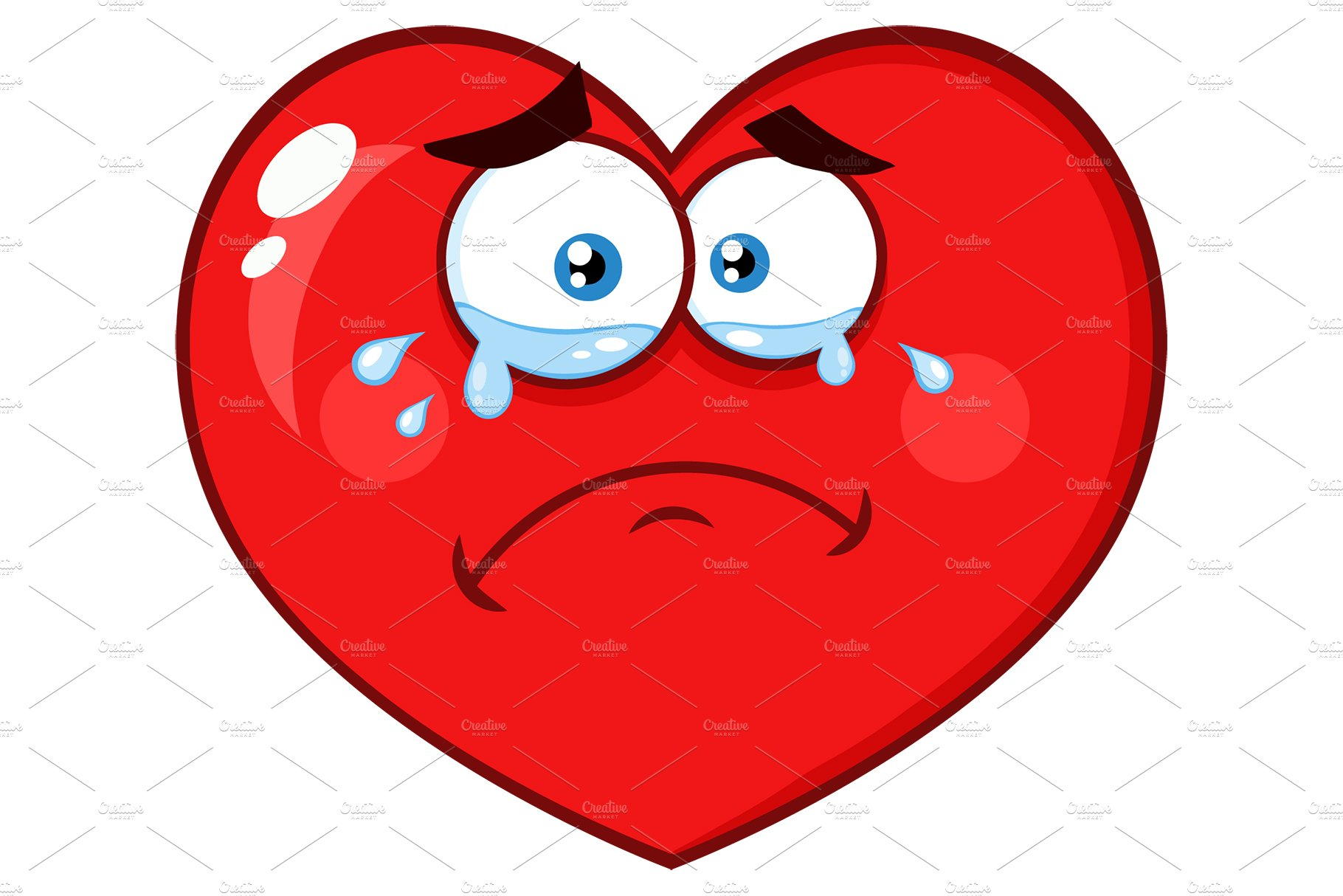 crying red heart with sad expression illustrations creative market