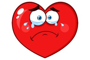 Crying Red Heart With Sad Expression