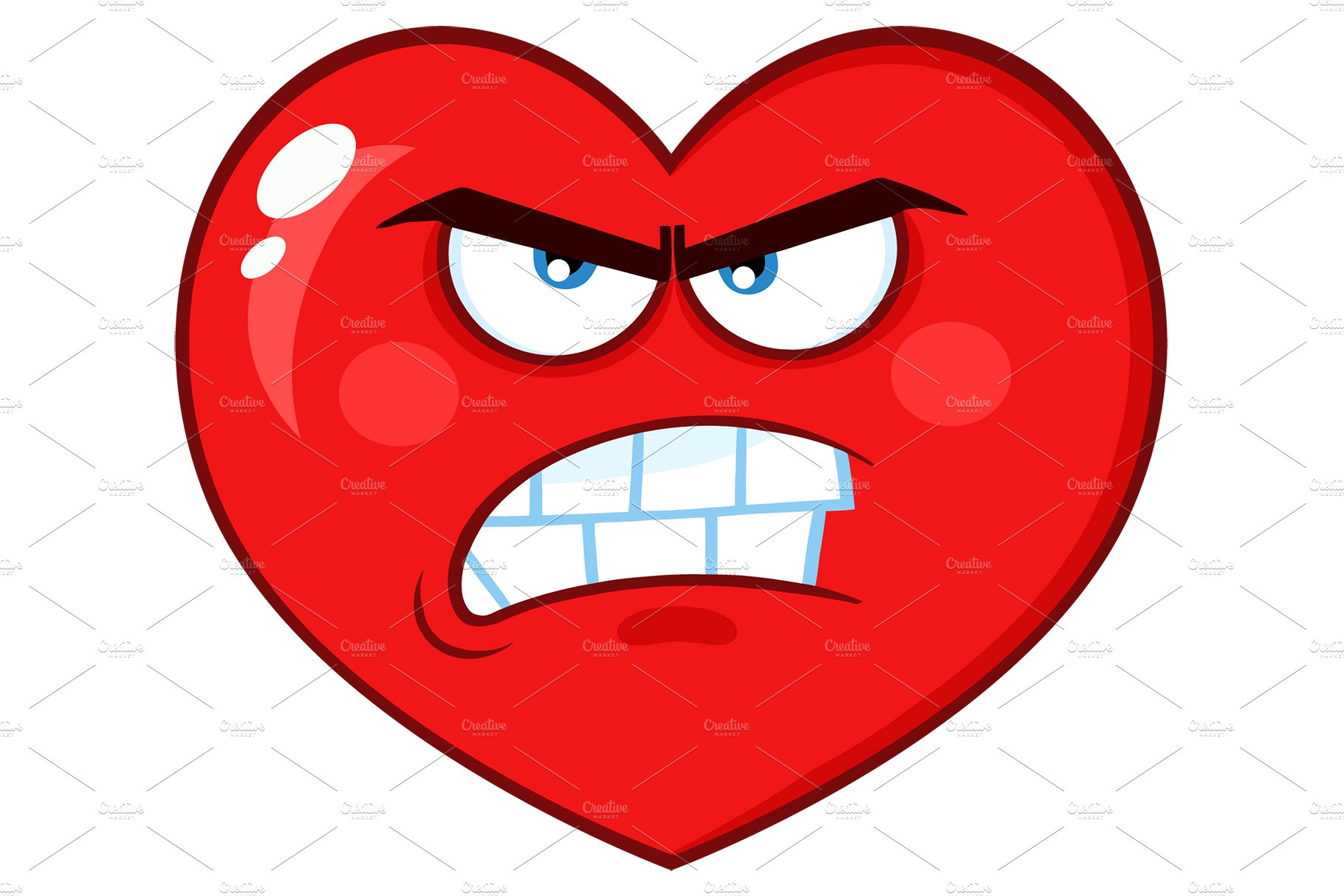 Angry Red Heart Character Illustrations Creative Market