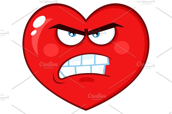 Angry Red Heart Character