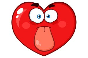 Red Heart Cartoon Emoji Face