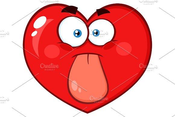 Red Heart Cartoon Emoji Face