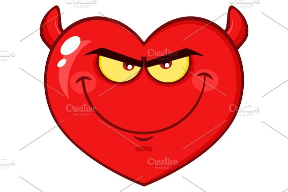 Devil Red Heart Cartoon Character