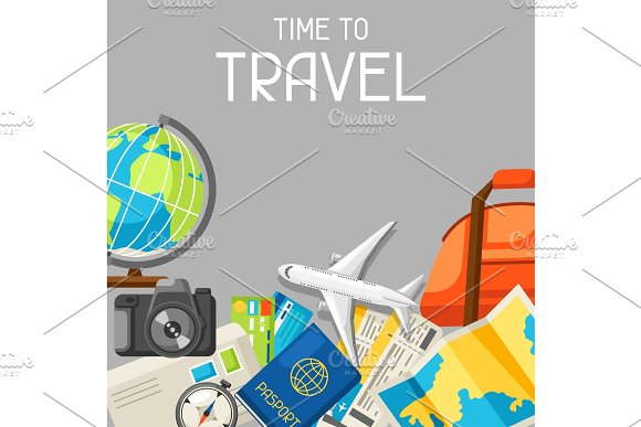 Travel Concept Illustration Traveling Background With Tourist Items Top View