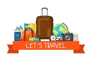 Travel concept illustration. Traveling background with tourist items