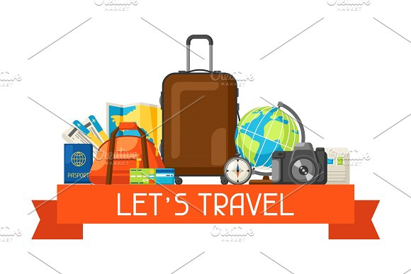 Travel Concept Illustration Traveling Background With Tourist Items