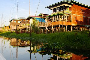 Traditional houses on stilts in Inle