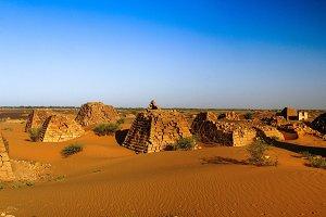 Panorama of Meroe pyramids in the de