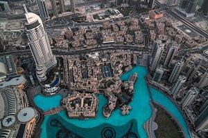 Panorama sunset view to Dubai skyscr